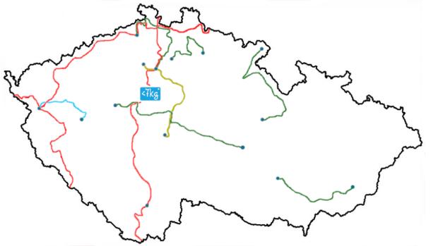 Dálkové treky Česka, slepá mapa. Pod 7 kilo.